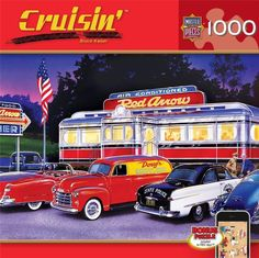 NEW Jigsaw Puzzle 1000 Piece Masterpieces Cruisin DINNER AT THE RED ARROW Cars #MasterPieces