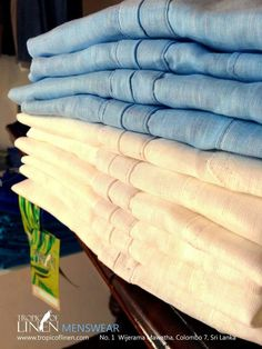 Mens linen shirt stack. Tropical, cool and crisp.