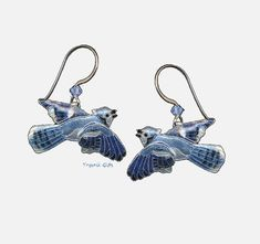 BLUE JAY Cloisonne EARRINGS Bamboo Jewelry STERLING SILVER Bird - Gift Boxed #BambooJewelry #DropDangle