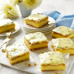 Classic Vanilla Slice with Passionfruit Icing - Traditional vanilla slice with passionfruit icing recipe - Passionfruit Recipes, Icing Ingredients, Recipe Sites, Cinnamon Cream Cheeses, Pumpkin Spice Cupcakes, Icing Recipe, Fall Desserts, Cream Recipes, Other Recipes