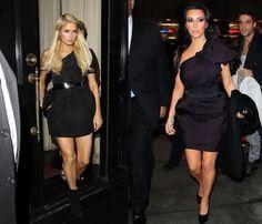 Kim Kardashian  Paris Hilton Same dress love paris hiltons's shoes