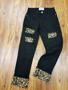 Black Jeans with Brown Leopard Patches