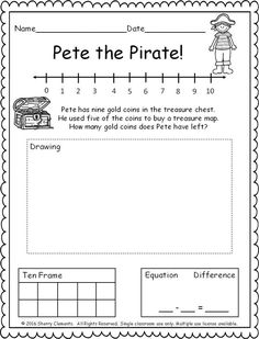 Kindergarten Literacy and Math FREEBIE - free lessons - FREEBIE! pages) Subtraction Word Problem! (number line, ten frame, drawing, and equation) kinder - Kindergarten Literacy, Math Classroom, Teaching Math, Preschool, First Grade Math Worksheets, 1st Grade Math, Grade 1, First Grade Freebies, Writing Worksheets
