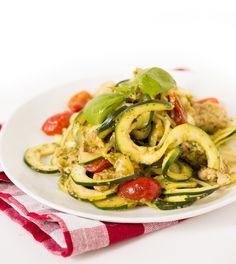 Chicken and Pesto Zucchini Fettuccine with Tomatoes
