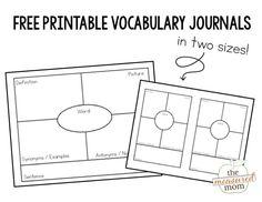 Printable vocabulary journals