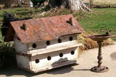 Primitive Bird House/// Ole Cabin from a Kentucky Holler - For Sale or Wrent - Cheep - Purple Martin House, Bluebird House, Farmhouse Garden, Rustic Gardens, Outdoor Gardens, Bird Cages, Bird Feathers, Bird Houses, Blue Bird
