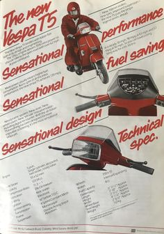Vespa advert and specification from 1986 Vespa T5, New Vespa, Vespa Lambretta, Vespa Scooters, Vintage Vespa, Vespa Excel, Scooter Garage, Motorcycle Quotes, Girl Motorcycle