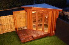 Outdoor sauna with outdoor shower