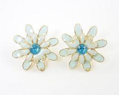 Flower Earring Posts - Aqua Vintage Style Rhinestone Earring Finding Post with Loop Jewelry Supply |B9-14|2