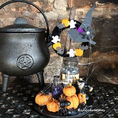 The Hallowrama - A miniature Halloween Diorama that fits under a cloche, that's sits atop a Gothic candlestick. Halloween Diorama, Halloween Make, Halloween Fashion, Candlesticks, Halloween Decorations, Gothic, Miniatures, Handmade, Instagram