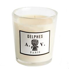 Astier de Villatte's Delphes candle, a suave combination of field flowers, orange blossom, almond flower and a touch of white honey. The air vibrates with the slightly powdery effusions of flower pollen. #scented #candle #home #fragrance #niche #aedes #perfumery