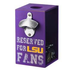 LSU Tigers Reserved for Fans Bottle Opener & Cap Caddy