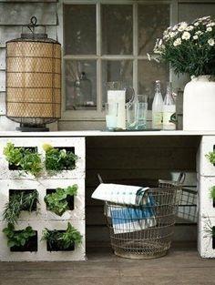 Cinderblock desk with plants