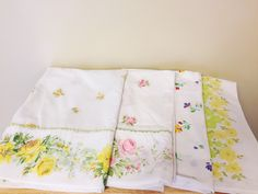 Set of 4 Vintage Mismatched Floral Pillowcases, Rose Floral Pastel Linens, Country Chic Hobo Pillowcases, Cotton Pillowcases Lot by hollydollyvintageky on Etsy https://www.etsy.com/listing/550619509/set-of-4-vintage-mismatched-floral