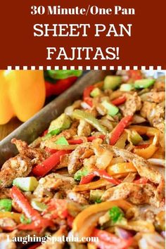 This 30 minute Easy Sheet Pan Fajita meal will quickly become a favorite! Healt… This Easy Sheet Pan Fajita meal is fast becoming a favorite! Fast and fresh, as we like it here! Paleo Recipes, Mexican Food Recipes, Cooking Recipes, Recipes Dinner, Spanish Recipes, Easy Recipes, Clean Eating Snacks, Healthy Eating, Dinner Healthy