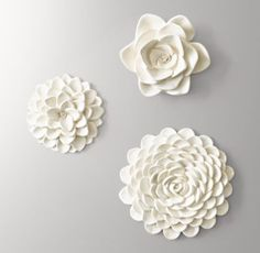 RH Baby & Child's Floral Blooms - Set of 3:Dahlias, zinnias and roses are enduring favorites. Expertly cast of resin, our set captures each bloom's iconic profusion of petals in exacting detail – and makes for a stunning wall display.
