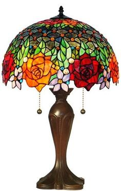 Amora Lighting Tiffany Style Jeweled Roses Table Lamp