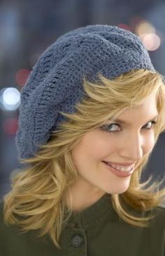 Another style crochet beret with a free pattern.