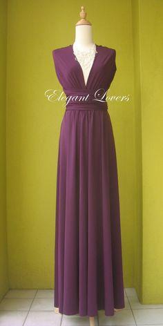 Dark Purple Wedding Dress Bridesmaid Dress by Elegantlovers, $85.00