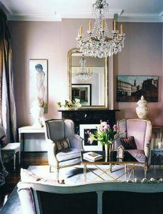 lilac walls, crystal light fixture, wing - myshabbychicdecor...