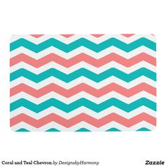Coral and Teal Chevron Floor Mat