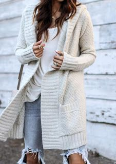 0ede2783306 Cream thick knitted cardigan with pockets • Available in S M and M L ...