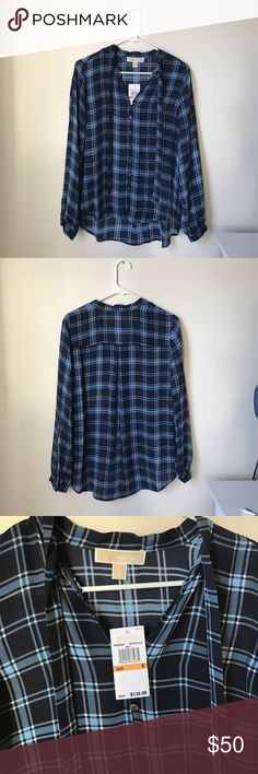 Michael Kors Plaid Shirt Never worn, size small, blue and white plaid Michael Kors shirt. Two pieces of fabric hanging down from the collar that can be tied. Tiny pin hole that I only noticed when holding it up to the light (see picture 4). 100% polyester Michael Kors Tops Button Down Shirts