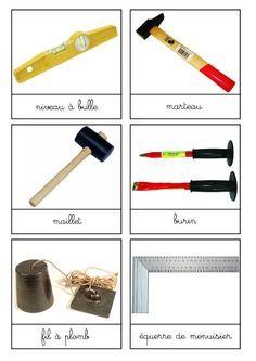 6 planches de nomenclature sur outils+bricolage - chez Sans Leçons ni Punition Construction Tools, Montessori, Pilates, Design, Language, 6 Year Old, 6 Pack Abs, Vocabulary, Pop Pilates