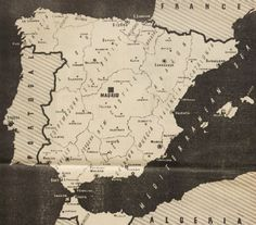 Map showing the regional divisions in Spain. From the Communist magazine 'To-morrow', published in December 1936 Map Of Spain, French Magazine, Guernica, Basque Country, North Africa, Civilization, Vintage World Maps, Spanish