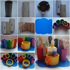 Reutiliza los tubos de cartón y dales color con pinturas acrílicas para hacer estos prácticos organizadores. Debes ensamblar cada tubo haciendo un corte que tenga el mismo grosor del cartón para que quede perfectamente fijo.