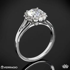 Verragio Split Shank Halo Solitaire Engagement Ring from the Verragio Classico Collection. #Whiteflash #Verragio