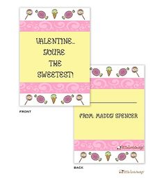 Candy Valentine Cards designed by Little Lamb Design Save The Date, Dates, Pineapple, Coding, Valentines, Candy, Stickers, Bag, Gifts