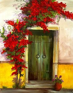 Veiled Door Pictures To Paint, Art Pictures, Arte Latina, Painted Doors, Belle Photo, Painting Inspiration, Landscape Paintings, Watercolor Paintings, Art Projects