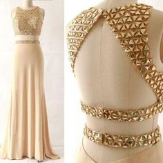 Two Pieces Gold Prom Dress