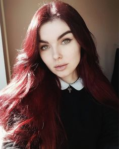 Lucifer, son of the morning, I'm gonna chase you out of earth!_ _____ Thank you for following me here! ❤ LUV YA ALL xoxo… Dark Red Hair, Red Hair Color, Burgundy Color, Hair Colors, Son Of The Morning, Peter Pan Collars, Red Tree, Earth, Fashion