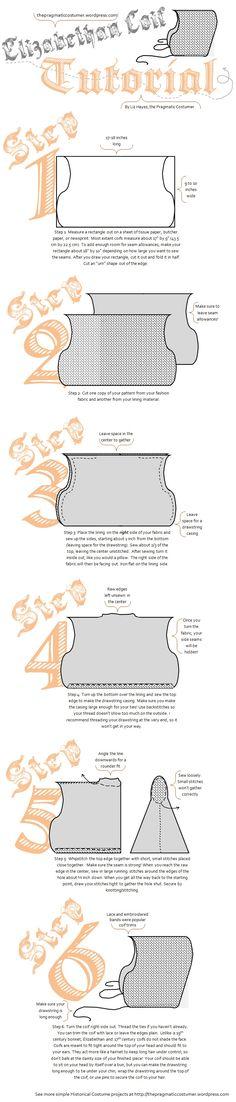 Elizabethan/early 17th century coif cap tutorial