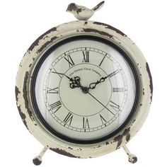 Antique White Metal Table Clock with Bird on Top $22 hobbylobby