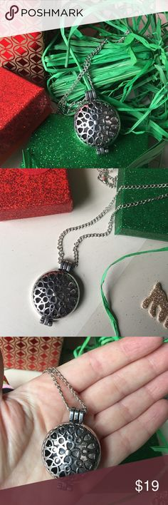 Silver Perfume Locket great Stocking Stuffer Silver Perfume Locket Necklace✨ Silver plated Locket✨pretty flower + heart design✨opens up✨colorful perfume pads included✨Spray your favorite scents✨Change the scent✨Change the color✨Fun + unique Stocking Stuffer!  Jewelry Necklaces