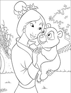 print the mulan and child panda coloring pages and then fill it with crayons or colored - Fill In Coloring Pages