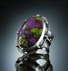 Stichtite Ring. Fabricated Sterling Silver & 14k. www.amybuettner.com https://www.facebook.com/pages/Metalsmiths-Amy-Buettner-Tucker-Glasow/101876779907812?ref=hl