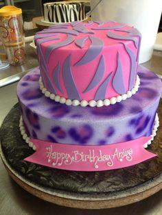 Pink and purple zibbra 2 tiered birthday cake, Designed Sam Lucero, Blue Cake, Little Rock AR 9th Birthday, Birthday Cakes, Sweet Sixteen Cakes, Blue Cakes, Cake Ideas, Faith, Rock, Purple, Desserts
