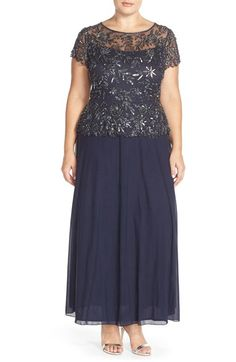 Pisarro Nights Mock 2-Pc. A-Line Gown (Plus Size) available at #Nordstrom