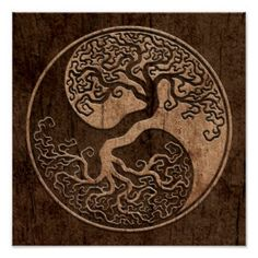 Tree of Life Yin Yang with Wood Grain Effect Poster