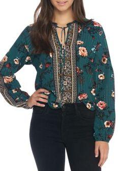 Self Esteem Girls' Long Sleeve Floral Sheer Blouse - Moragreen - Xs
