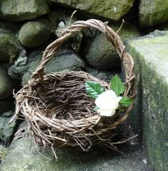 Rustic Flower Girl Basket, Twig Basket, Wild Dark Wicker Basket, Woodland Wedding,