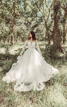 OFF-SHOULDER LACE BALLGOWN WITH TIERED SKIRT Dream Wedding Dresses, Wedding Gowns, Fall Wedding, Off Shoulder Ball Gown, Essense Of Australia Wedding Dresses, Sage Green Wedding, Bridal Salon, Long Sleeve Wedding, Try On
