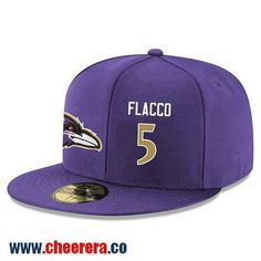 Baltimore Ravens #5 Joe Flacco Snapback Cap NFL Player Purple with Gold Number Hat