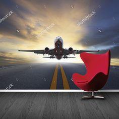Fotobehang vliegtuig in de avondzon   Maak het jezelf eenvoudig en bestel fotobehang voorzien van een lijmlaag bij YouPri om zo gemakkelijk jouw woonruimte een nieuwe stijl te geven. Voor het behangen heb je alleen water nodig!   #behang #fotobehang #print #opdruk #afbeelding #diy #behangen #vliegen #vliegtuig #vliegveld #landen #opstijgen