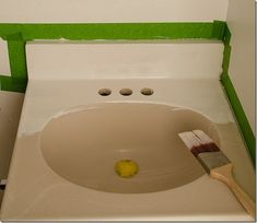 How to paint a sink I may need this one day if we buy an outdated home that needs updating.