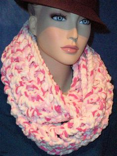 Hey, I found this really awesome Etsy listing at https://www.etsy.com/listing/238288683/pink-chunky-infinity-scarf-pink-crochet